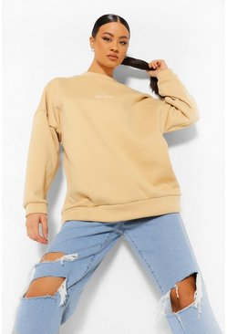 Stone beige Official Embroidered Oversized Sweatshirt