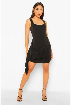 Black Mix & Match Shimmer Drape Mini Skirt