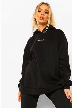 Black Official Embroidered Oversized Hoodie