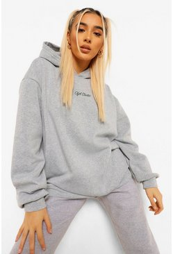 Grey marl Official Embroidered Oversized Hoodie