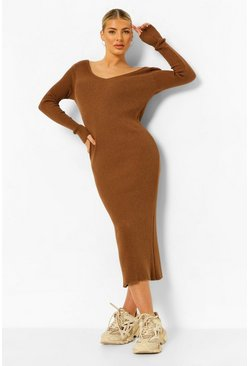Rust orange Rib Knit Midaxi Dress