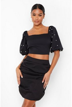 Black Pearl Sleeve Top And Ruched Skirt Two-Piece Set