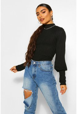 Black Rib High Neck Puff Sleeve Top