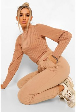 Camel beige Rib High Neck Puff Sleeve Top