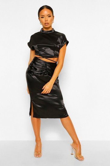 Black Satin Strap Top & Ruched Skirt Co-ord Set