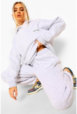 Grey marl grey Oversized Ofcl Studio Embroidered Tracksuit