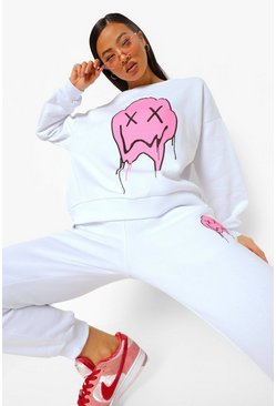White Drip Face Sweater Tracksuit