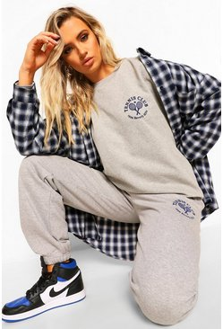 Grey marl Sweater Tracksuit With Tennis Print