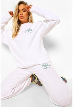 White Sweater Tracksuit With Tennis Print