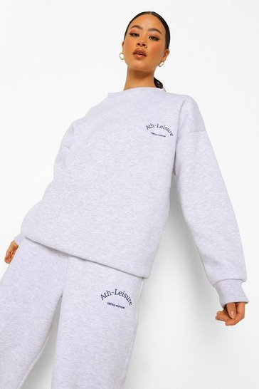 Grey marl grey Oversized Ath-leisure Sweater Tracksuit