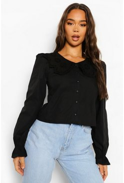 Black Lace Peterpan Collar Blouse