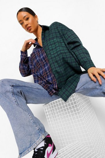 Blue Contrast Check Oversized Shirt