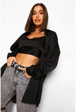 Black Satin Bralet And Oversized Shirt Set