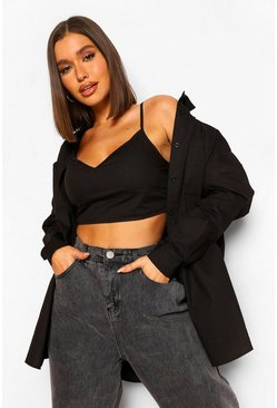 Black Cotton Poplin Bralet And Oversized Shirt Set