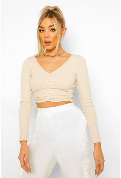 Stone beige Rib Ruched Detail V Neck Top