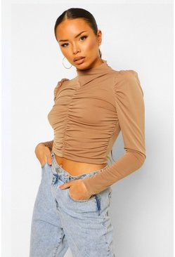 Camel beige Ruched Front Volume Sleeve High Neck Top