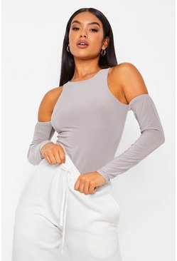 Grey Racer Neck Cold Shoulder Bodysuit