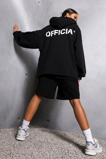 Black Oversized Slogan Zip Through Hoodie