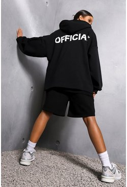 Black Oversized Slogan Zip Through Hoodie