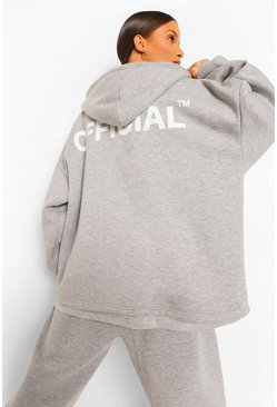 Grey marl grey Oversized Slogan Zip Through Hoodie