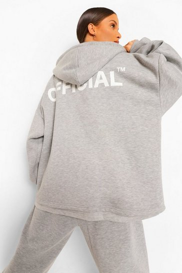 Grey Marl Oversized Slogan Zip Through Hoodie