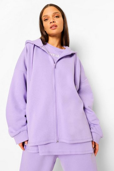 Lilac purple Purple Oversized Slogan Zip Through Hoodie