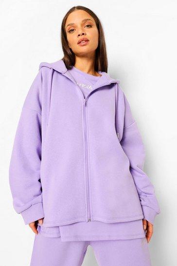 Lilac purple Purple Oversized Slogan Zip Through Hoodie
