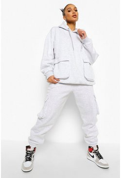 Grey Oversized Cargo Hooded Tracksuit