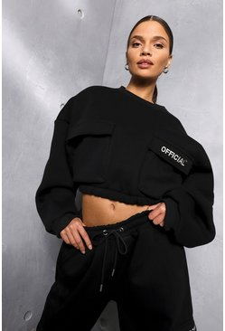 Black Oversized Slogan Utilitypocket Sweater