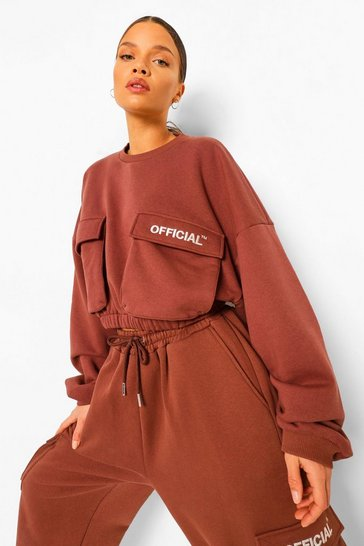 Chocolate brown Oversized Slogan Utilitypocket Sweater