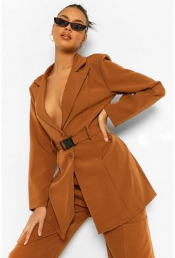 Caramel beige Long Line Buckle Waist Tailored Blazer