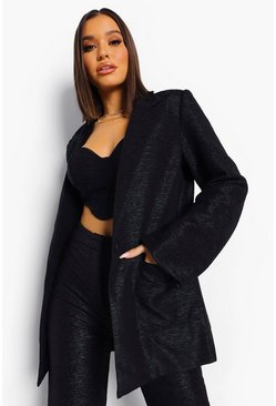 Black Textured Oversized Blazer