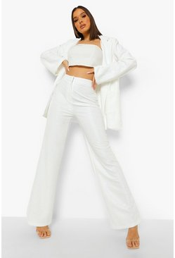 Ivory white Textured Relaxed Fit Wide Leg Trousers