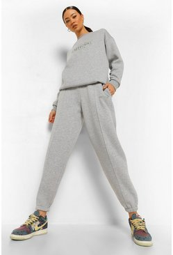 Grey marl Official Embroidered Slouch Sweater Tracksuit