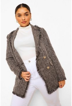 Grey Boucle Textured Frayed Hem Blazer