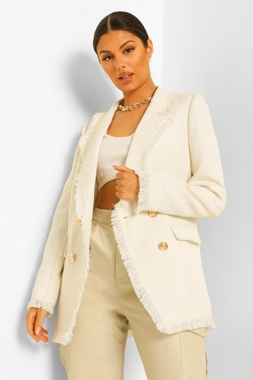 Ivory white Boucle Textured Frayed Hem Blazer