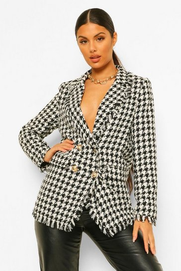 Black Hounds Tooth Check Frayed Hem Blazer