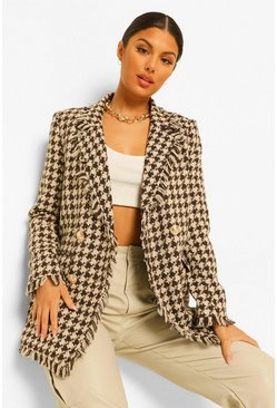 Brown Hounds Tooth Check Frayed Hem Blazer