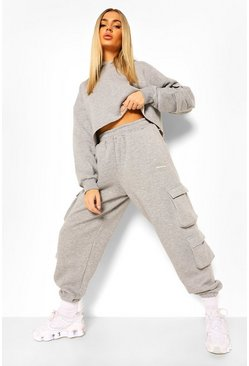 Grey marl grey Cropped Utility Hooded Tracksuit