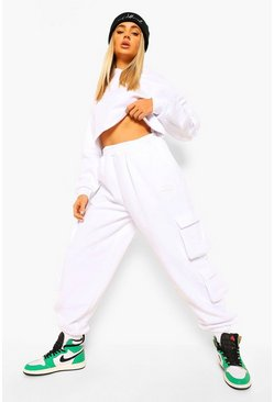 White Cropped Utility Hooded Tracksuit