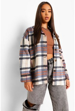 Grey Heavyweight Brushed Check Oversized Shirt