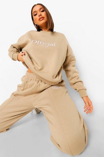 Stone beige Official Embroidered Slouch Sweater Tracksuit