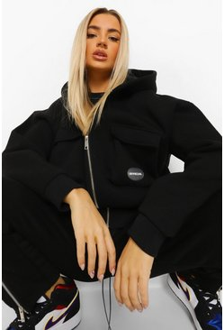 Black Oversized Zip Through Utility Tracksuit