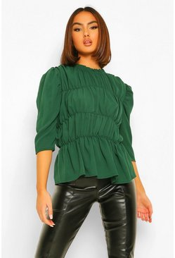 High Neck Sheered Detail Blouse, Emerald verde