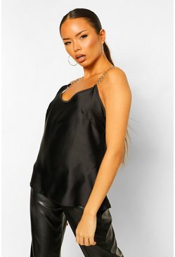Satin Chain Detail Cami Top BLACK-8