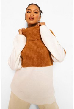Camel beige Colour Block Oversized Knitted Sweater