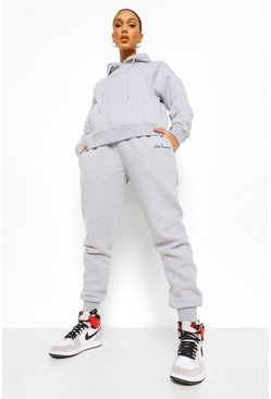 Woman Embroidered Hooded Tracksuit, Grey marl gris