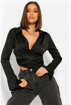 Black Wrap Front Collar Detail Satin Top
