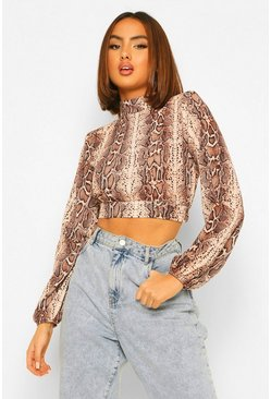 Brown Snake Print Shoulder Pad Detail High Neck Blouse