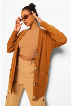 Camel beige Solid Colour Boyfriend Cardigan